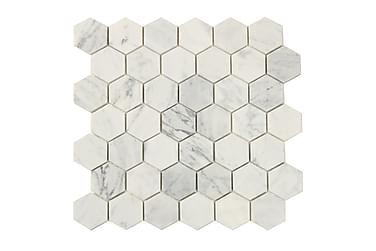Hexagon Carrara Hvid 5X5