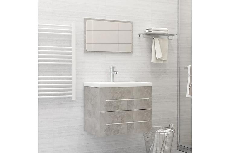 Badeværelsesmøbelsæt 2 Dele Spånplade Betongrå - Grå - Badeværelse - Badeværelsesmøbler - Komplette møbelpakker