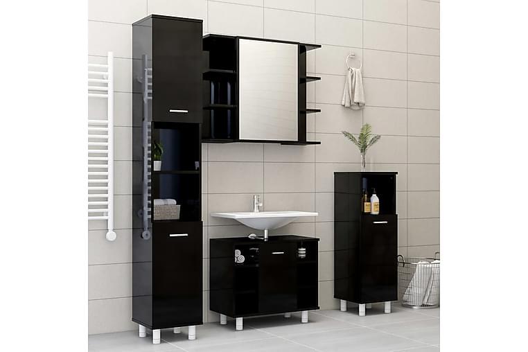 badeværelsesmøbelsæt 3 dele spånplade sort højglans - Sort - Badeværelse - Badeværelsesmøbler - Komplette møbelpakker