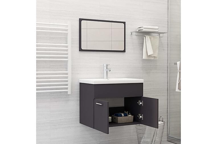 badeværelsesmøbelsæt spånplade grå - Grå - Badeværelse - Badeværelsesmøbler - Komplette møbelpakker