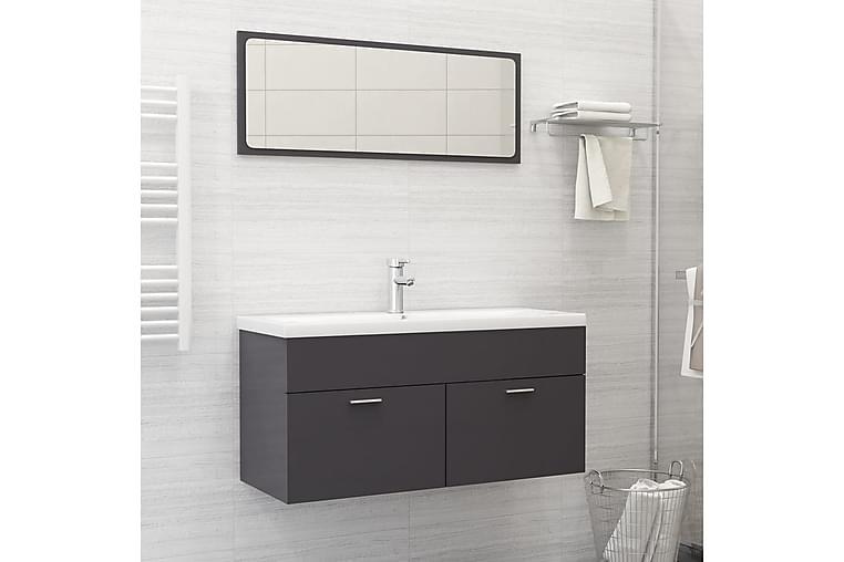 badeværelsesmøbelsæt spånplade grå højglans - Grå - Badeværelse - Badeværelsesmøbler - Komplette møbelpakker