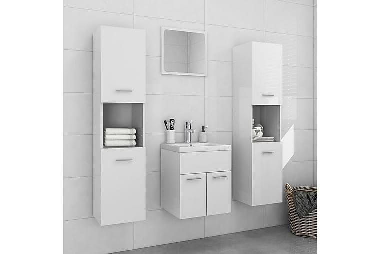 badeværelsesmøbelsæt spånplade hvid højglans - Hvid - Badeværelse - Badeværelsesmøbler - Komplette møbelpakker