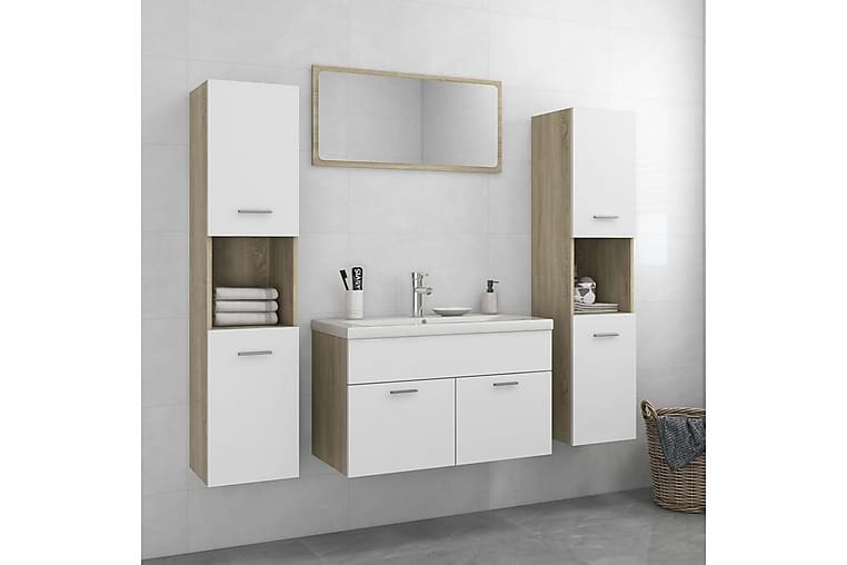 badeværelsesmøbelsæt spånplade hvid og sonoma-eg - Beige - Badeværelse - Badeværelsesmøbler - Komplette møbelpakker