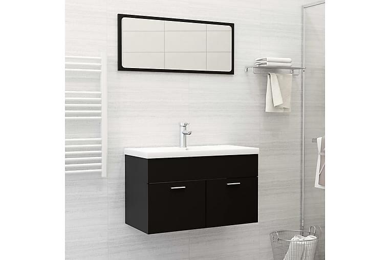 badeværelsesmøbelsæt spånplade sort - Sort - Badeværelse - Badeværelsesmøbler - Komplette møbelpakker