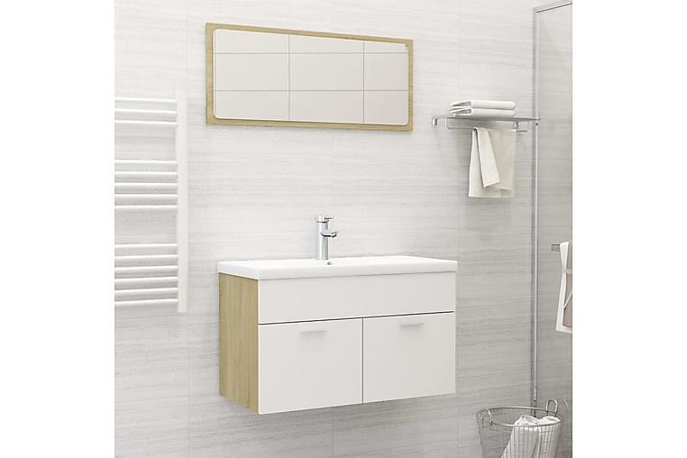 badeværelsesmøbelsæt spånplader hvid og sonoma-eg - Beige - Badeværelse - Badeværelsesmøbler - Komplette møbelpakker