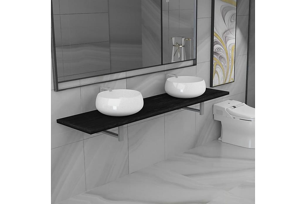 Keramisk håndvask med væghylde til badeværelset - Hvid - Badeværelse - Badeværelsesmøbler - Komplette møbelpakker