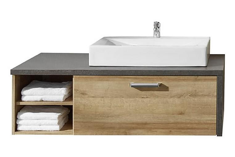 Terra underskab m hane 123 cm - Mørk Eg/Cementgrå - Badeværelse - Badeværelsesmøbler - Underskabe