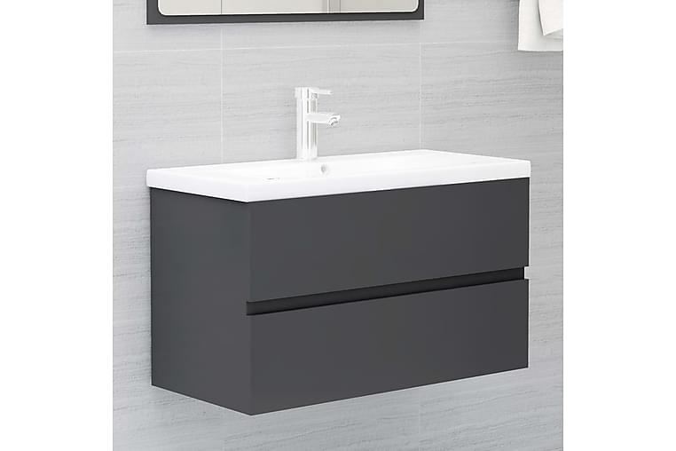 vaskeskab 80x38,5x45 cm spånplade grå - Grå - Badeværelse - Badeværelsesmøbler - Underskabe