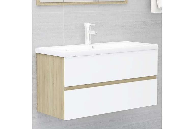 vaskeskab 90x38,5x45 cm spånplade hvid og sonoma-eg - Beige - Badeværelse - Badeværelsesmøbler - Underskabe