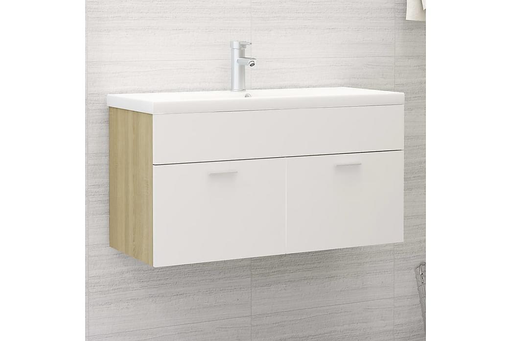 vaskeskab 90x38,5x46 cm spånplade hvid og sonoma-eg - Beige - Badeværelse - Badeværelsesmøbler - Underskabe
