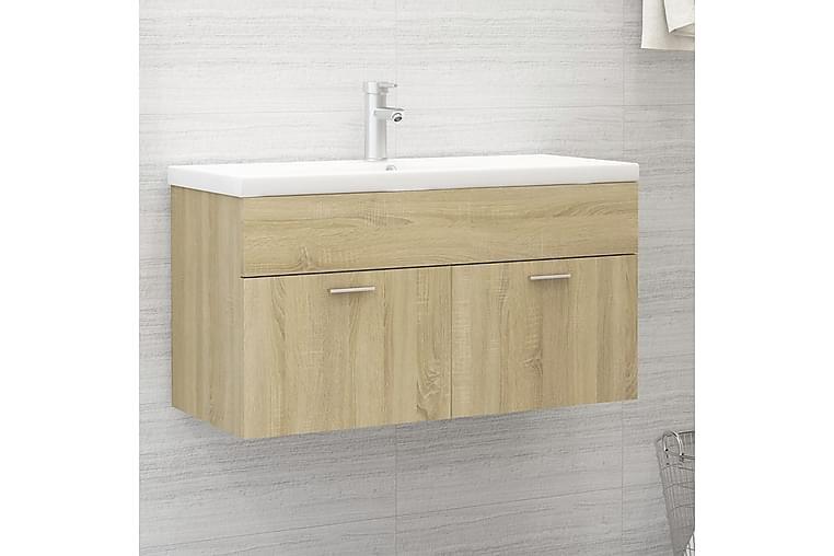 vaskeskab med indbygget håndvask spånplade sonoma-eg - Brun - Badeværelse - Badeværelsesmøbler - Underskabe