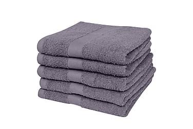 Badehåndklædesæt 5 Stk. Bomuld 500 Gsm 70X140 Cm Antracitgrå