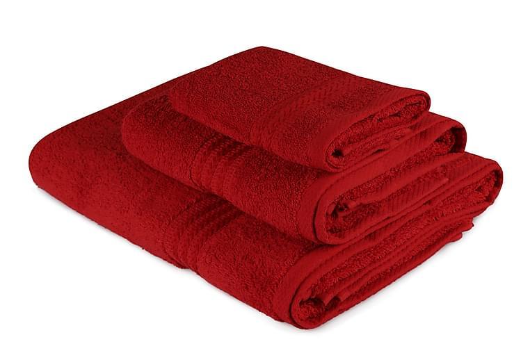 Hobby Håndklæde Sæt med 3 - Rød - Badeværelse - Badetekstiler - Håndklæder