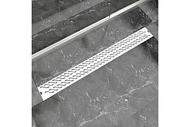 Lineært Bruseafløb Bølgedesign 1030X140 Mm Rustfrit Stål