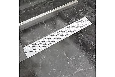 Lineært Bruseafløb Bølgedesign 730X140 Mm Rustfrit Stål