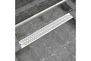 Lineært Bruseafløb Bølgedesign 930X140 Mm Rustfrit Stål