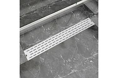 Lineært Bruseafløb Linjedesign 830X140 Mm Rustfrit Stål