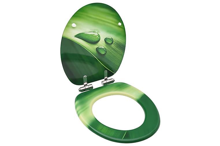 Toiletsæde Med Soft Close-Låg Mdf Vanddråbedesign Grøn - Badeværelse - Badeværelsestilbehør - Toiletbræt