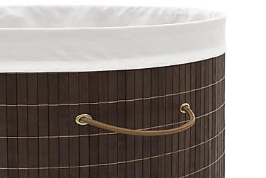 Vasketøjskurv Bambus Oval Mørkebrun