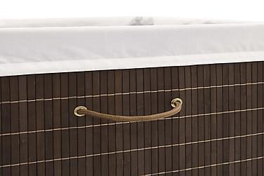 Vasketøjskurv Bambus Rektangulær Mørkebrun