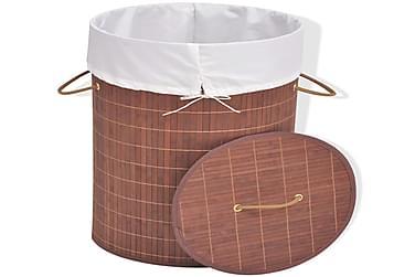 Vasketøjskurv Bambus Rund Brun
