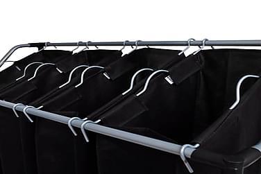 Vasketøjskurv Med 4 Poser Sort Grå