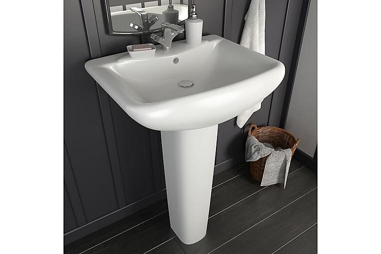 fritstående vask med piedestal keramik hvid 580x470x200 mm - Hvid - Badeværelse - Håndvaske - Små håndvaske