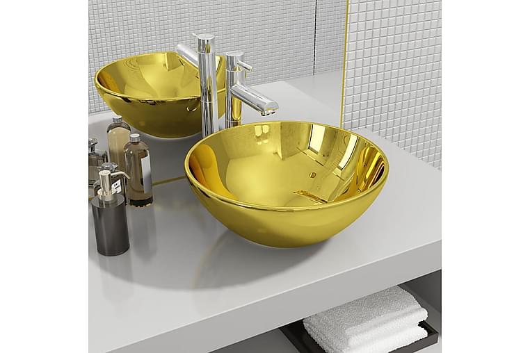håndvask 32,5 x 14 cm keramik guldfarvet - Guld - Badeværelse - Håndvaske - Små håndvaske