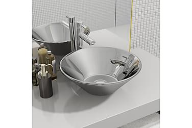 Håndvask 42 X 14 Cm Keramik Sølvfarvet