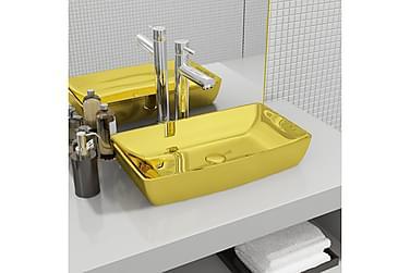 Håndvask 71 X 38 X 13,5 Cm Keramik Guldfarvet