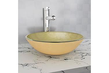 Håndvask Hærdet Glas 42 Cm Guld
