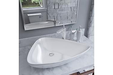 Håndvask Keramik Trekantet Hvid 645 X 455 X 115 Mm