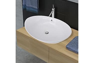 Håndvask Keramisk Oval Med Overløb 59 X 38,5 Cm