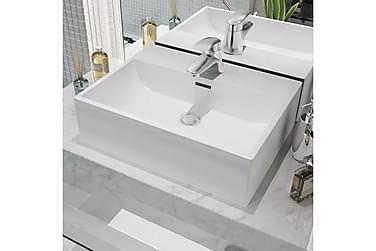 Håndvask Med Hul Til Vandhane Keramik 51,5X38,5X15 Cm Hvid