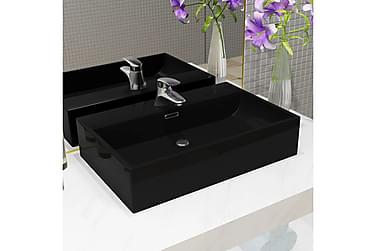 Håndvask Med Vandhanehul Keramik 60,5 X 42,5 X 14,5 Cm Sort