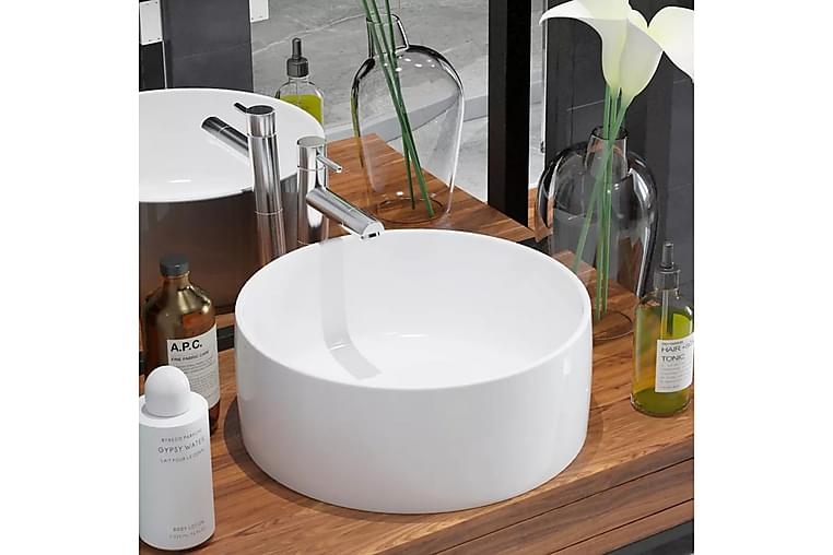 Håndvask Rund Keramik 40 X 15 Cm Hvid