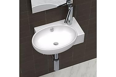 Hjørnehåndvask Overløb Hanehul Keramisk Hvid