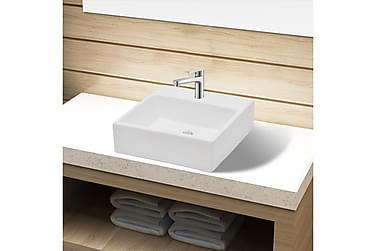Keramisk Håndvask Med Vandhanehul Hvid Firkantet