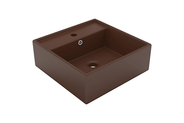 Luksus Håndvask Overløb 41x41cm Keramik Firkantet Mørkebrun - Badeværelse - Håndvaske - Små håndvaske