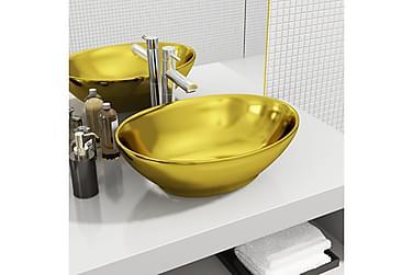 Håndvask 40 X 33 X 13,5 Cm Keramik Guldfarvet
