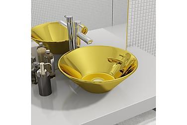 Håndvask 42 X 14 Cm Keramik Guldfarvet