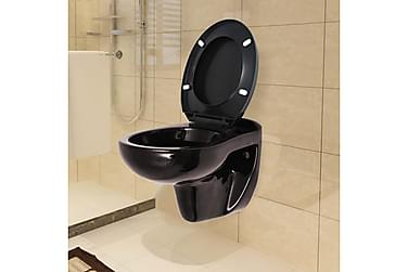 Væghængt Toilet Med Soft Close-Sæde Keramik Mørkebrun