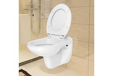 Væghængt Toilet Soft Close-Sæde Keramik Hvid