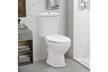 Fritstående toilet m. cisterne og soft close-sæde keramisk