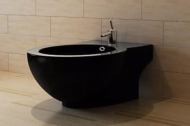 Toilet- Og Bidetsæt Sort Keramik