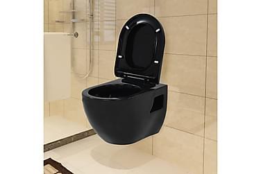 Væghængt Toilet Med Skjult Cisterne Keramik Sort
