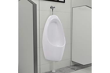 Væghængt urinal med skyllesystem keramisk