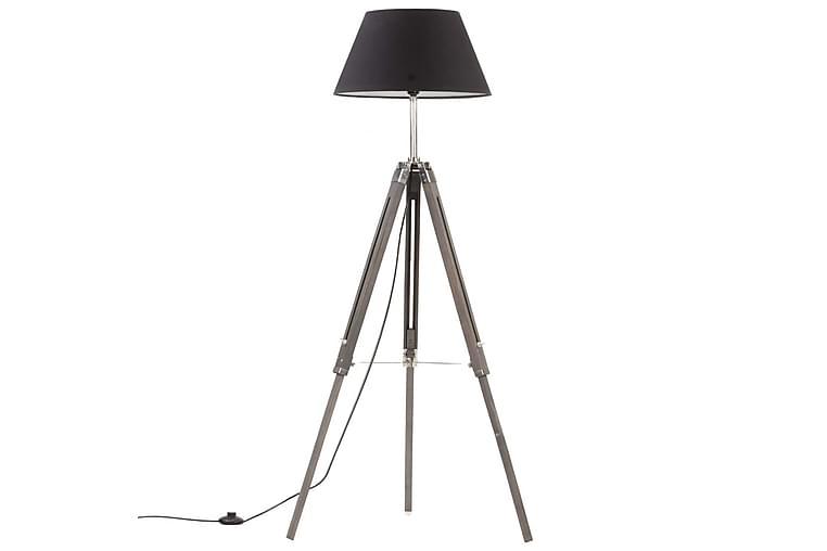 Gulvlampe Med Trefod 141 cm Massivt Teaktræ Grå Og Sort - Belysning - Lamper - Gulvlampe & standerlampe