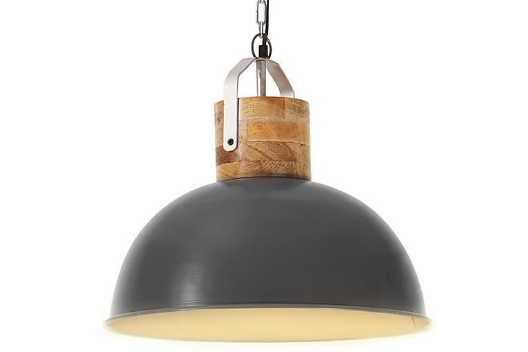 Industriel hængelampe 42 cm rund e27 massivt mangotræ grå - Belysning - Lamper - Loftlampe
