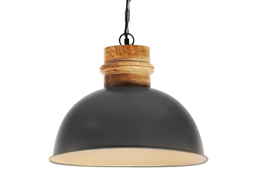 Industriel hængelampe 42 cm rund e27 massivt mangotræ grå - Grå - Belysning - Lamper - Loftlampe